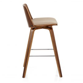 Mirage Wooden Stool Beige Fabric