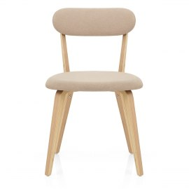Chase Oak Dining Chair Beige Fabric