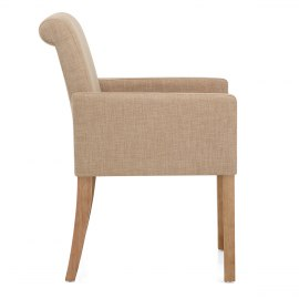 Gino Oak Chair Beige Fabric
