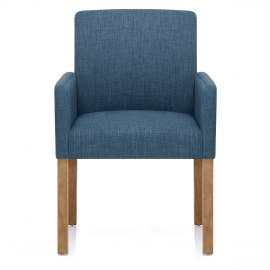 Gino Oak Chair Blue Fabric