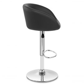 Black Faux Leather Eclipse Bar Stool