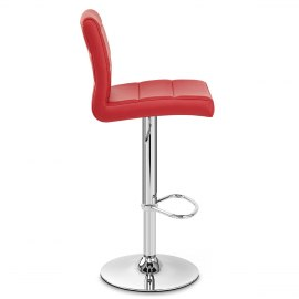 Chrome Breakfast Bar Stool Red