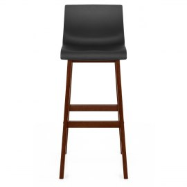 Drift Walnut & Black Bar Stool