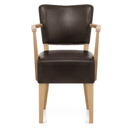 Ramsay Oak Chair With Arms Brown