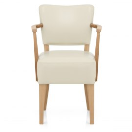 Ramsay Oak Chair With Arms Cream