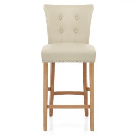 Buckingham Oak Stool Cream Leather