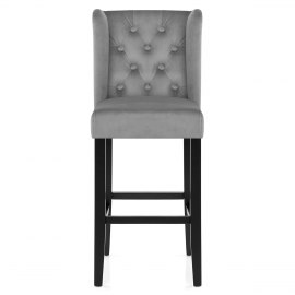 Pemberley Bar Stool Grey Velvet