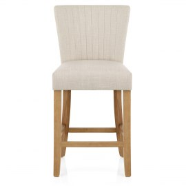 Eton Oak Stool Beige Fabric