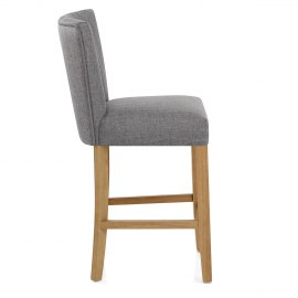 Eton Oak Stool Charcoal Fabric