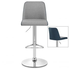 Clifford Bar Stool Grey & Blue Fabric