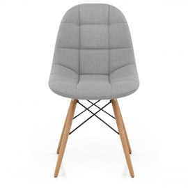 Moda Wooden Chair Light Grey Fabric