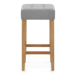 Oliver Oak Stool Grey Fabric
