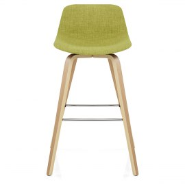 Reef Wooden Stool Green Fabric