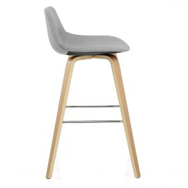 Reef Wooden Stool Grey Fabric