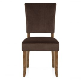 Lincoln Oak Chair Brown Velvet