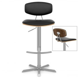 Strada Walnut Bar Stool Black