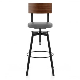 Urban Walnut Industrial Stool Grey