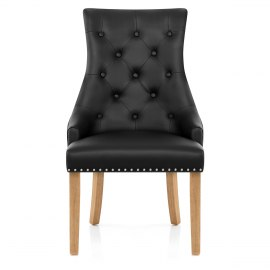 Ascot Oak Dining Chair Black Leather