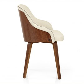 Evans dining chair walnut cream atlantic shopping - Chaise en cuir veritable ...