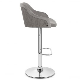 Fusion Wooden Stool Grey Velvet