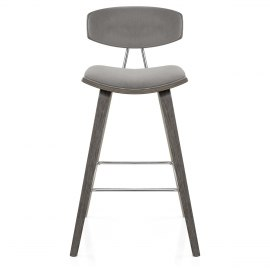 Henley Wooden Stool Grey Velvet
