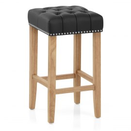 Chelsea Oak Stool Black Leather