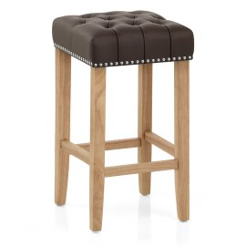 Chelsea Oak Stool Brown Leather