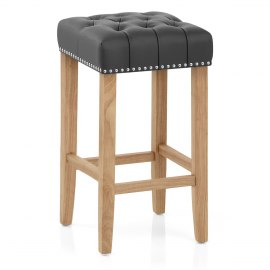Chelsea Oak Stool Grey Leather