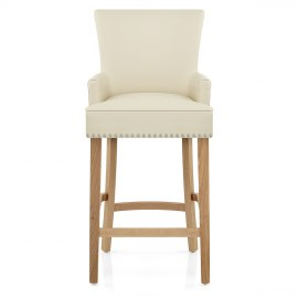 Nico Wooden Stool Cream Leather