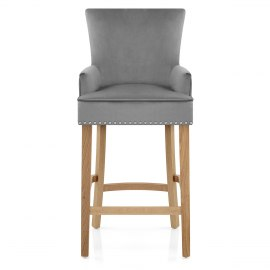 Nico Wooden Stool Grey Velvet