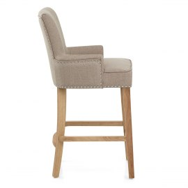 Nico Wooden Stool Tweed Fabric