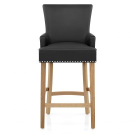 Nico Wooden Stool Black Leather