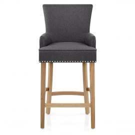 Nico Wooden Stool Charcoal Fabric