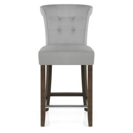 Carlton Scroll Back Stool Grey Velvet