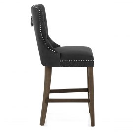 Kensington Wooden Stool Black Velvet