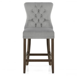 Kensington Wooden Stool Grey Velvet