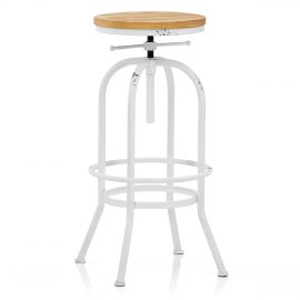 High Machinist Stool Antique White