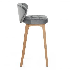 Marco Oak Stool Grey Velvet