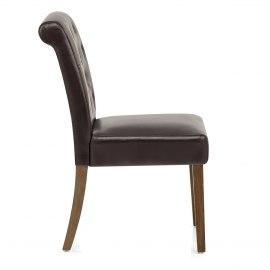 Denver Oak Dining Chair Brown Leather