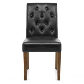 Denver Oak Dining Chair Black Leather