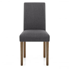 Chicago Oak Chair Charcoal Fabric