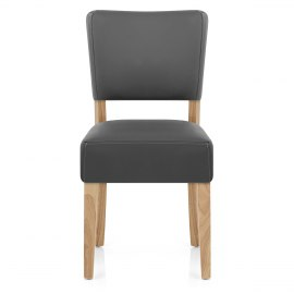 Dorchester Oak Chair Grey Leather