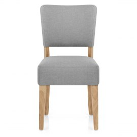 Dorchester Oak Chair Light Grey Fabric