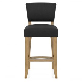 Dorchester Oak Stool Charcoal Fabric