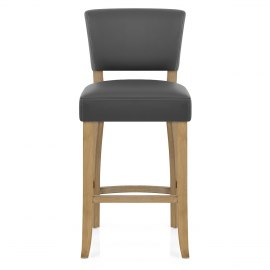 Dorchester Oak Stool Grey Leather