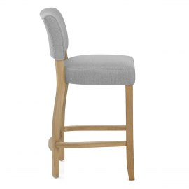 Dorchester Oak Stool Light Grey Fabric
