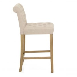 Chesterfield Oak Stool Cream Fabric