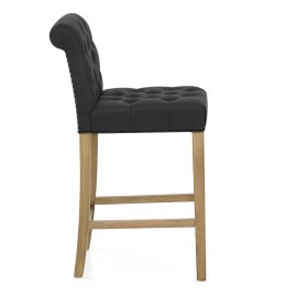 Chesterfield Oak Stool Charcoal Fabric