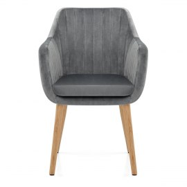 Rio Oak Chair Grey Velvet