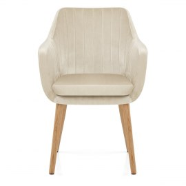 Rio Oak Chair Cream Velvet